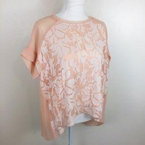 Sundance Silk Short Sleeve Top Peach Medium